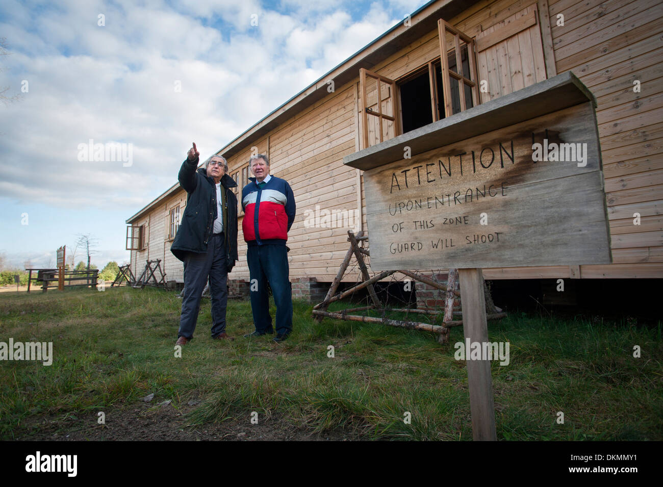 Two ex prisoner's of war Air Commodore Charles Clark (Rt) and RAF airman Andrew Wiseman at Stalag Luft 3 near Zagen, Poland. - Stock Image