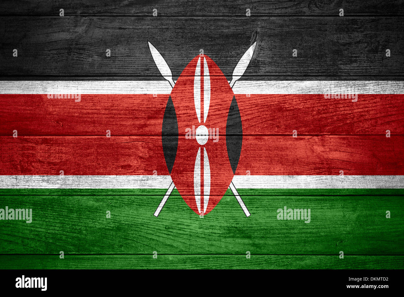 flag of Kenya or Kenyan banner on wooden background Stock Photo
