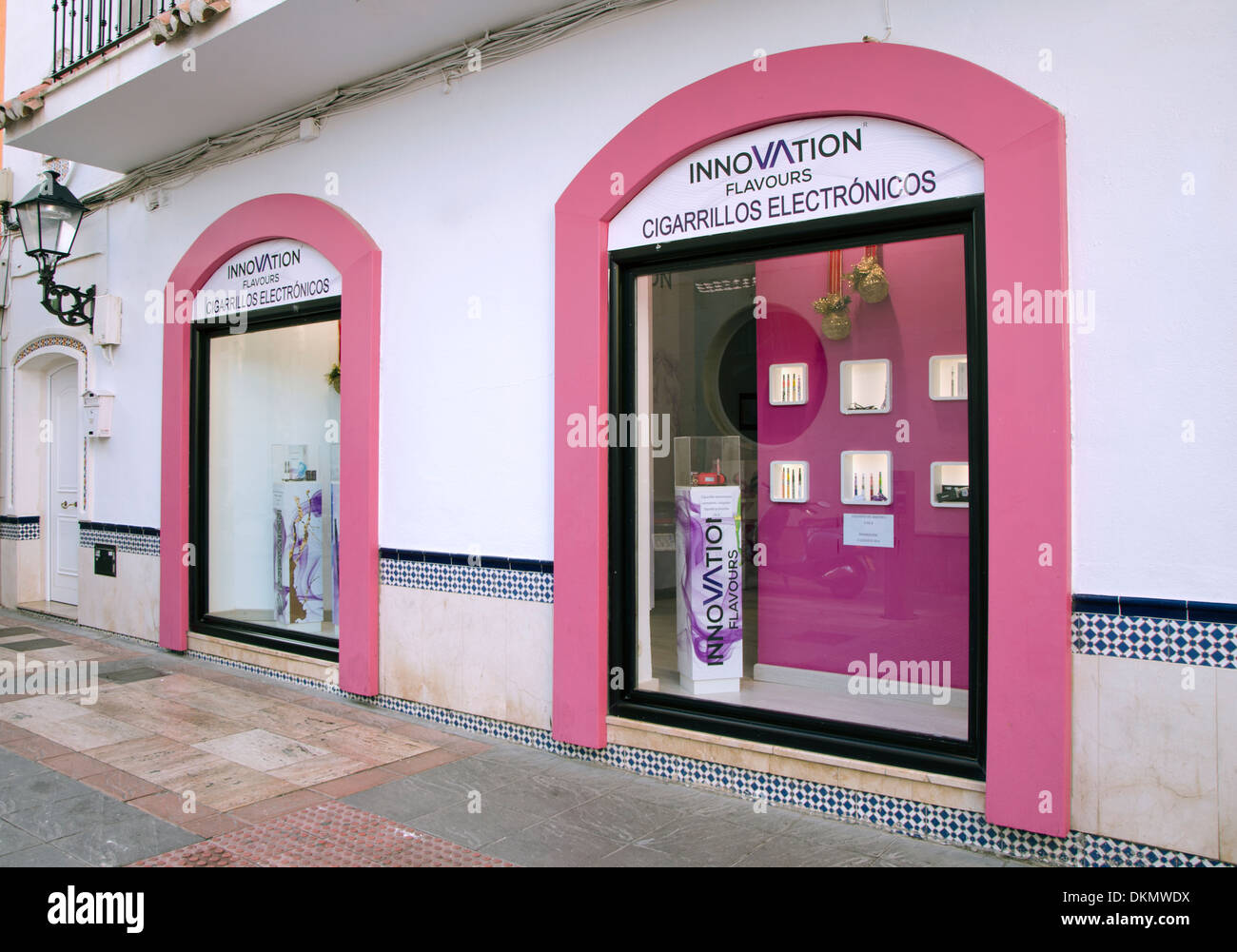A shop selling electronic cigarettes or e-cigarettes in Fuengirola, Spain. - Stock Image