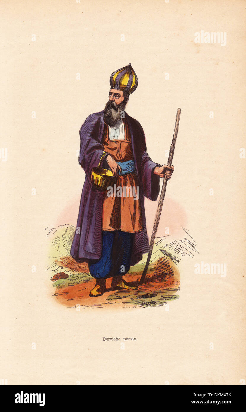 Dervish man from Persia (Iran) carrying a begging bowl and staff. - Stock Image