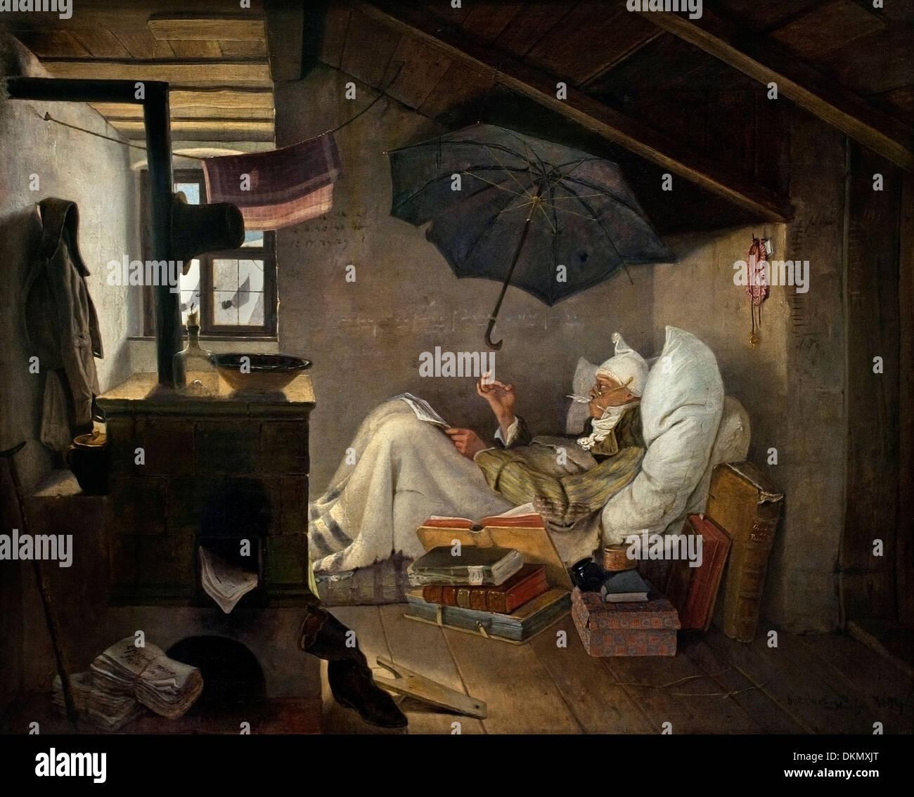 THE POOR POET (1839) CARL SPITZWEG (1808-1885) German Germany - Stock Image