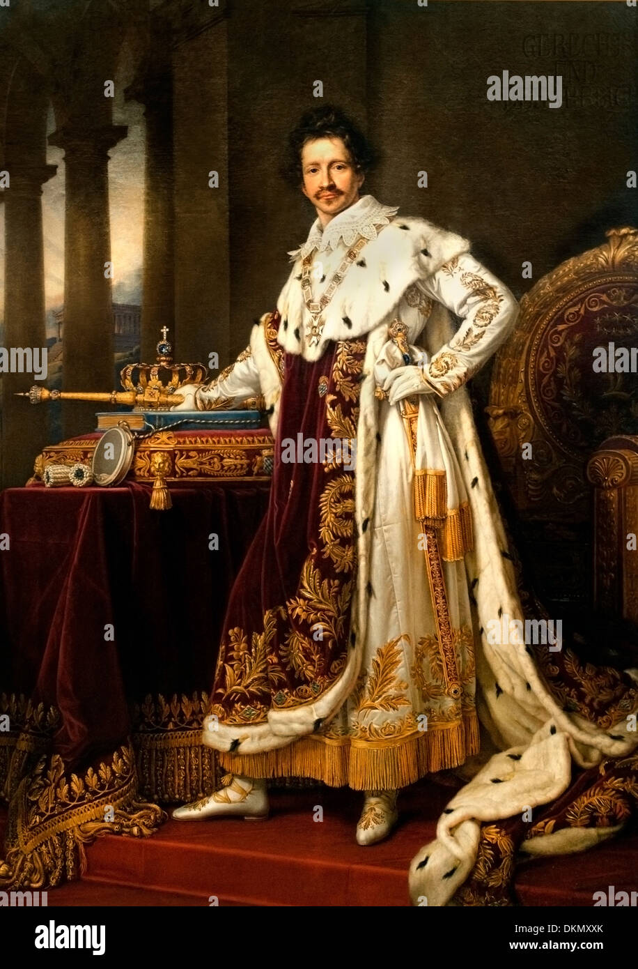 KING LUDWIG I IN CORONATION ROBES (1826) JOSEPH KARL STIELER (1781-1858) German Germany - Stock Image