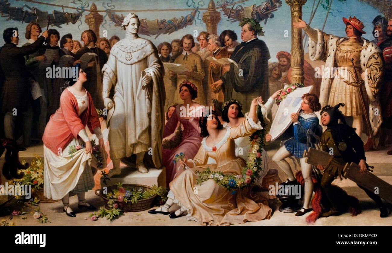 An artist festival is where the statue of King Ludwig I of Bavariais  Limited WILHELM VON KAULBACH (1804-1874) German Germany - Stock Image