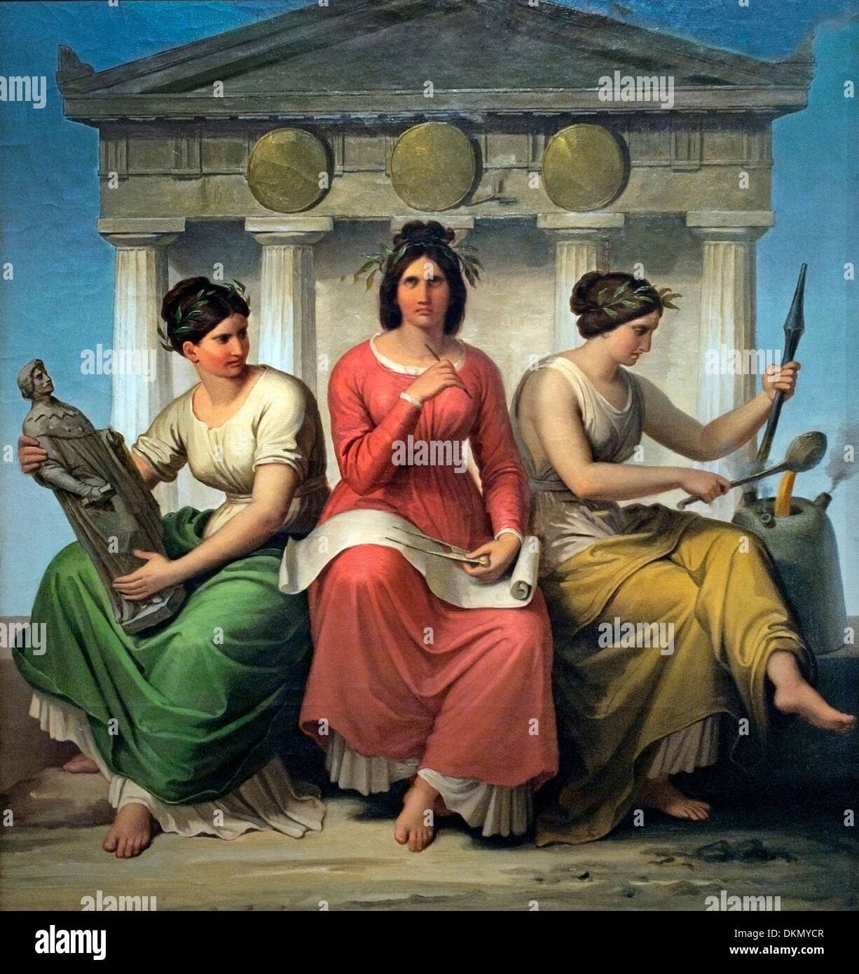 Three allegorical figures: architecture sculpture and art ore caster art  WILHELM VON KAULBACH (1804-1874) German Germany - Stock Image