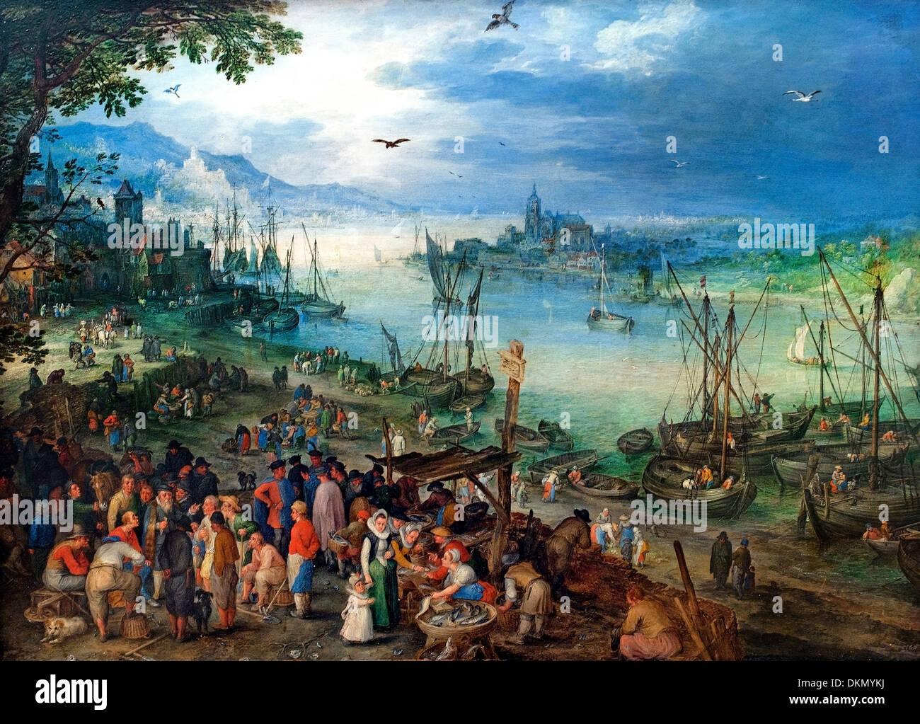 Fischmarkt am Ufer eines Flusses - Fish market on the banks of a river Jan Brueghel the Elder 1568–1625  Flemish Belgian Belgium - Stock Image