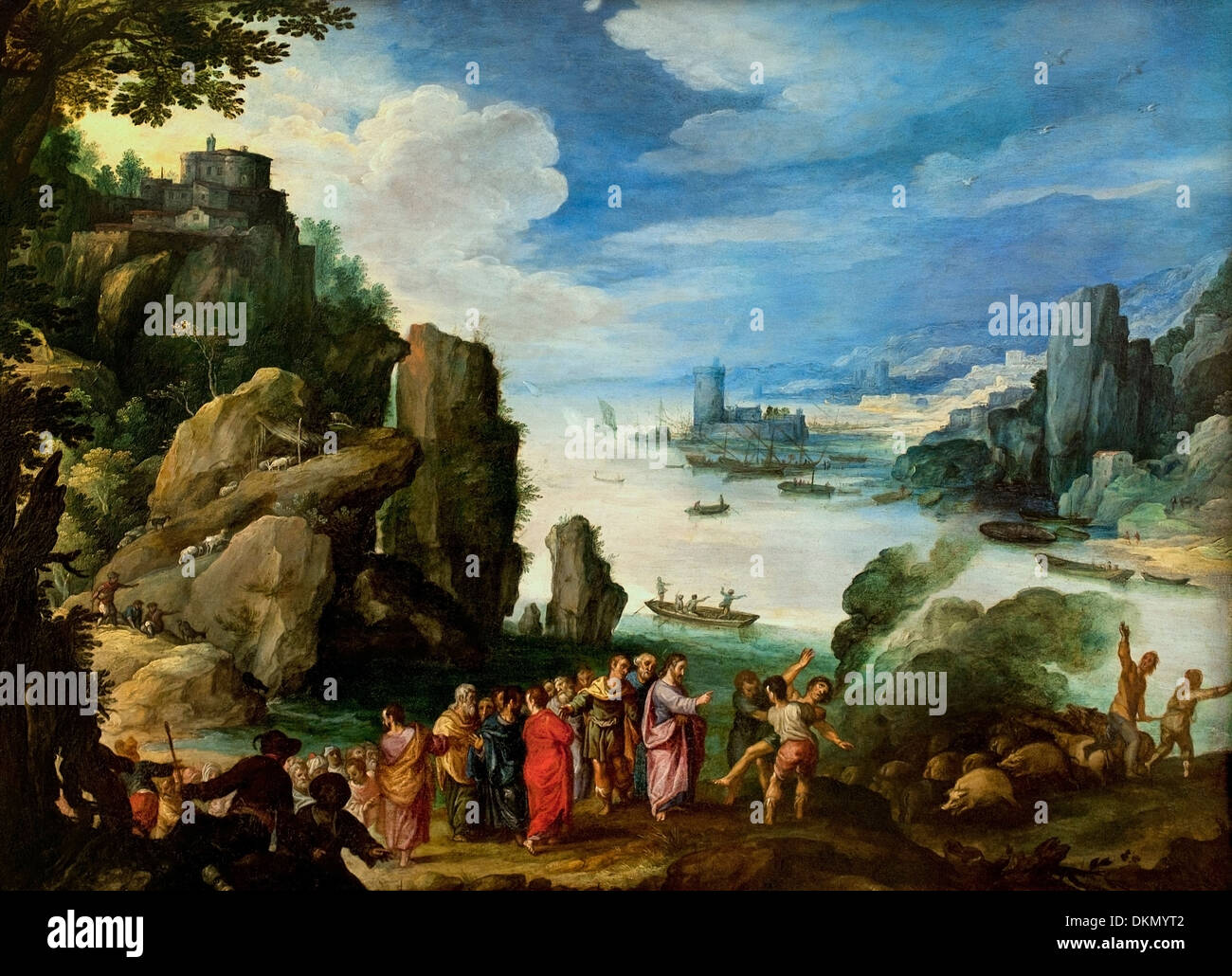 Rocky landscape with the healing of the possessed by Paul Bril 1553-1626 Dutch Netherlands - Stock Image