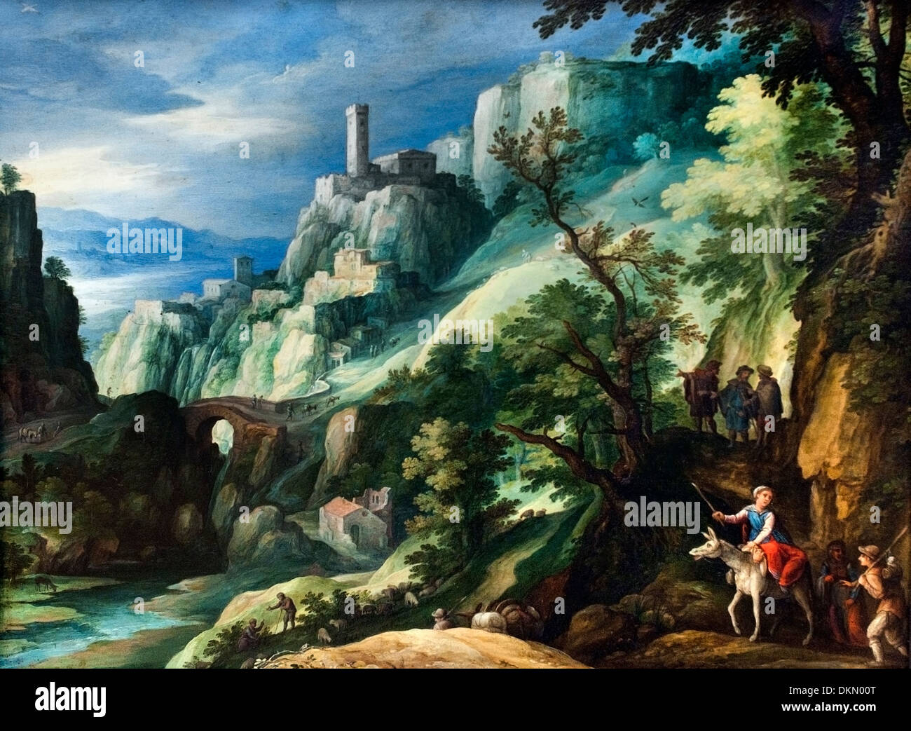 Italian mountain landscape with the transition to Emmaus  ( The Road to Emmaus  ) by Paul Bril 1553 - 1626 Dutch Netherlands - Stock Image