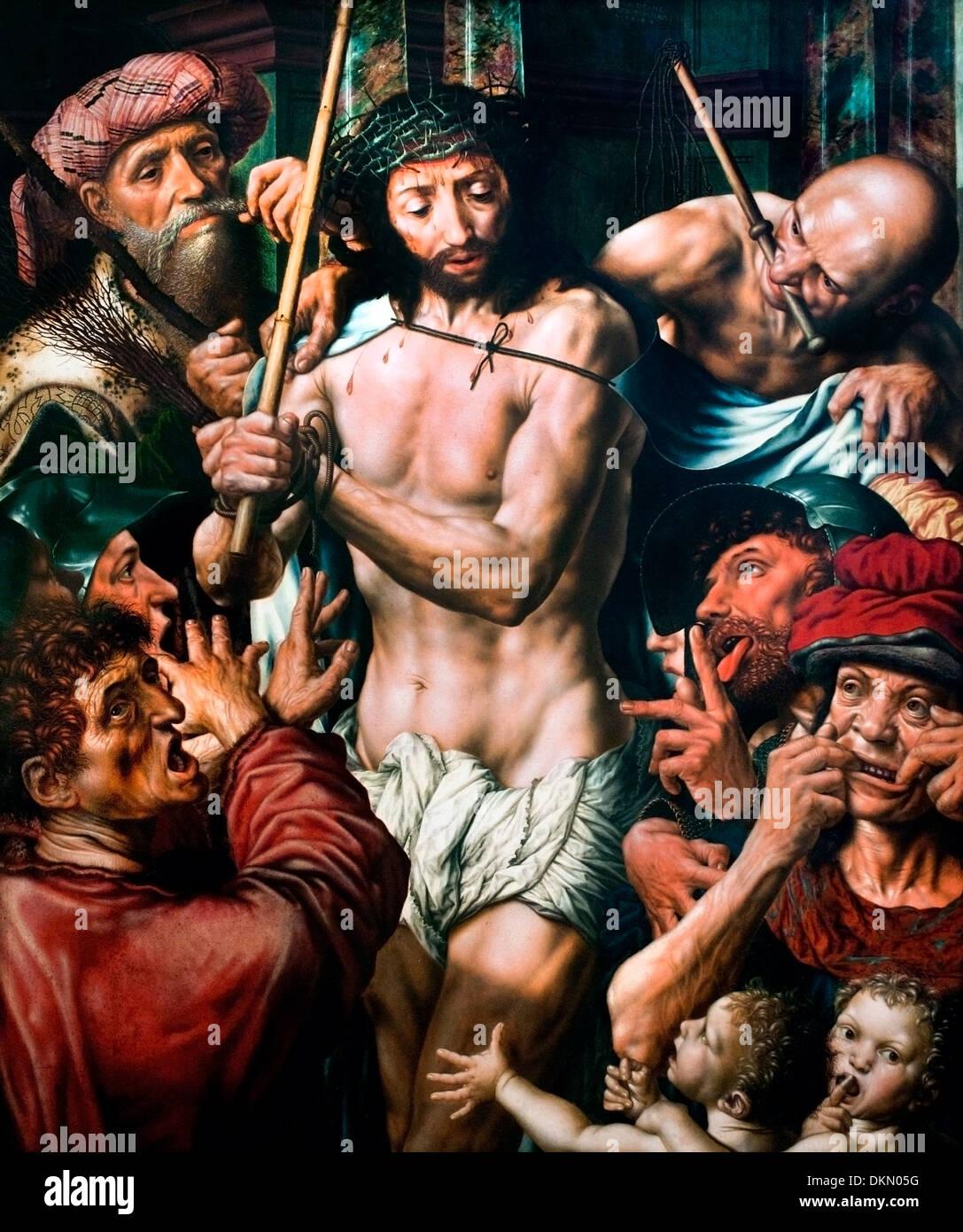 Verspottung Christi - mocking of Christ by Jan Sanders van Hemessen 1504-1575  Dutch Netherlands - Stock Image