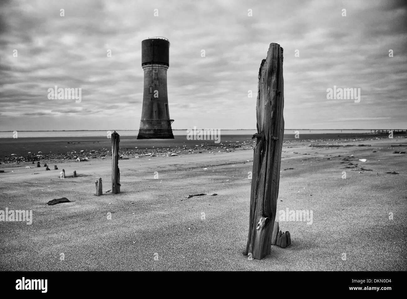 Light Tower and weathered timbers - Stock Image