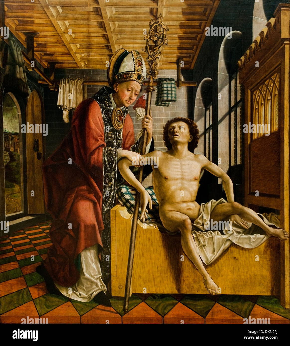 Die Heilung des propstes durch den HL Augustinus - The healing of the Provost by the St  Augustinus 1435 - 1498 Michael Pacher - Stock Image