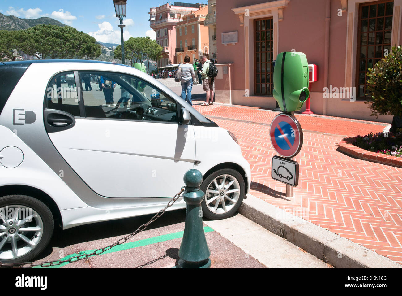Point recharge the battery of electric vehicles, Monaco, sovereign city-state, French Riviera, Western Europe - Stock Image