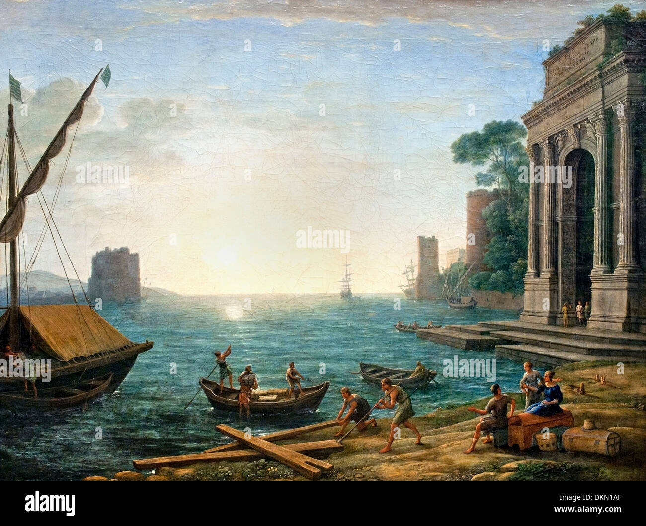 A Seaport at Sunrise by Claude Lorrain - Claude Gellée 1604/1605–1682)  France French - Stock Image