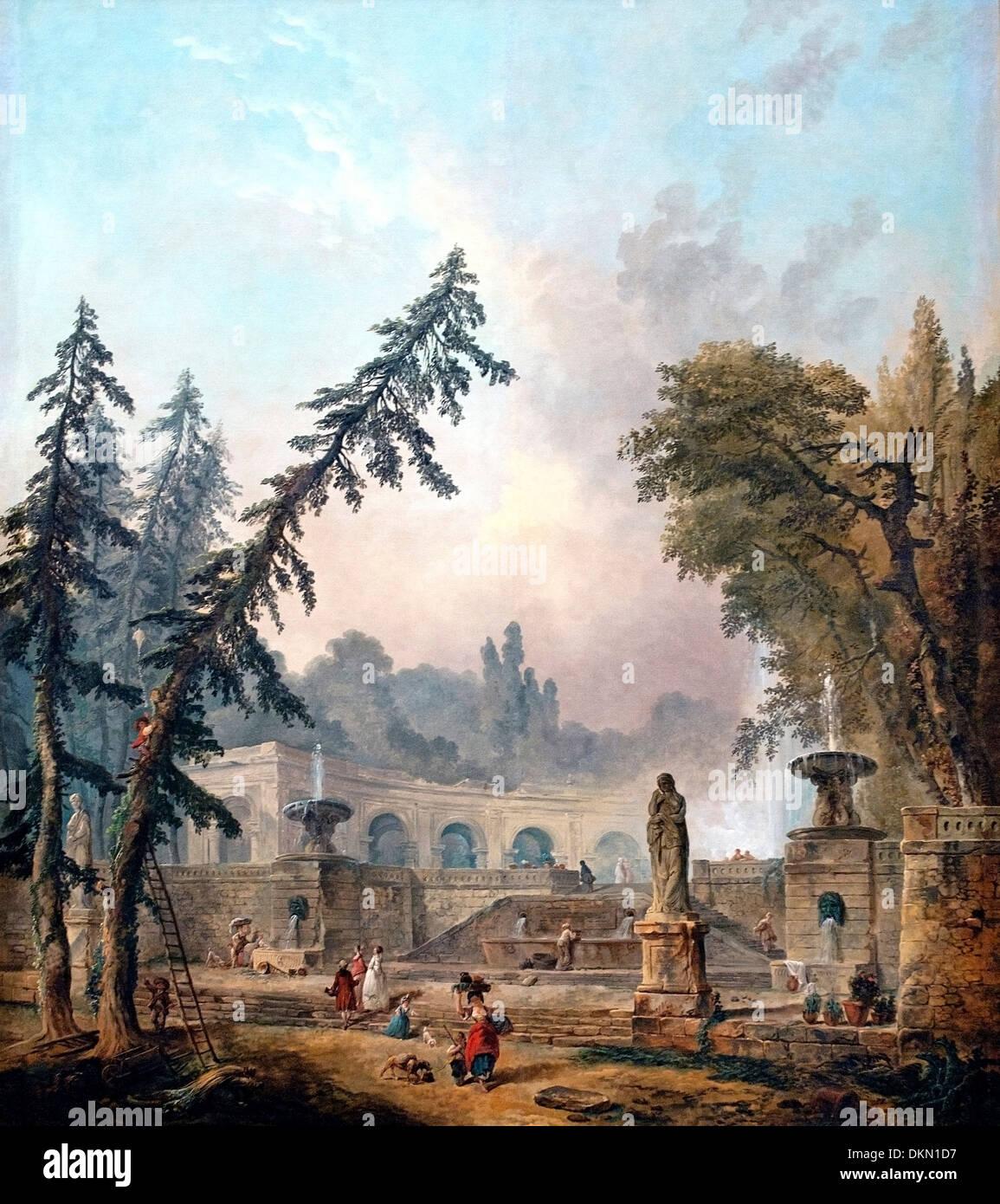Park landscape Hubert Robert (1733–1808) France French - Stock Image