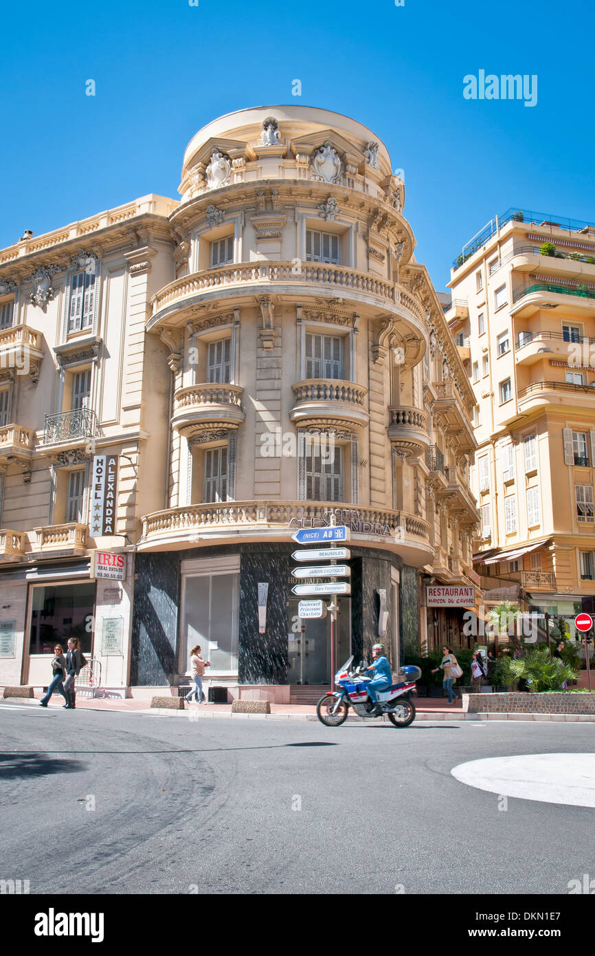 Fascinating historic corner building, Monaco, sovereign city-state, French Riviera, Western Europe. - Stock Image
