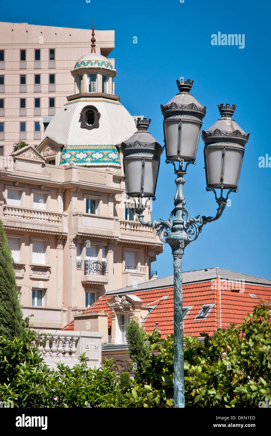 Monaco sketch with ornate ancient street lamps, sovereign city-state, French Riviera, Western Europe. Stock Photo