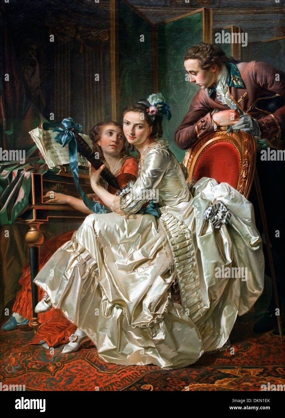Gallant society by Louis Rolland Trinquesse (c.1745-1800)  France French - Stock Image