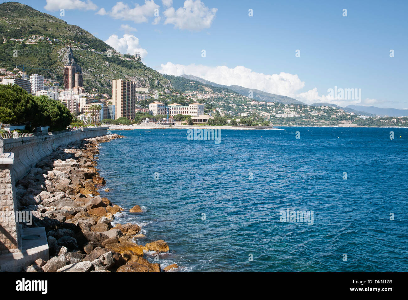 Beauty seaside,waterfront, Monaco, sovereign city-state, French Riviera, Western Europe Stock Photo