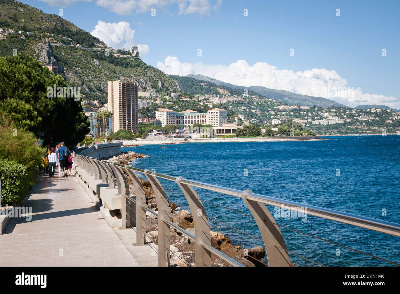 Seaside promenade, Monaco, waterfront, sovereign city-state, French Riviera, Western Europe. Stock Photo