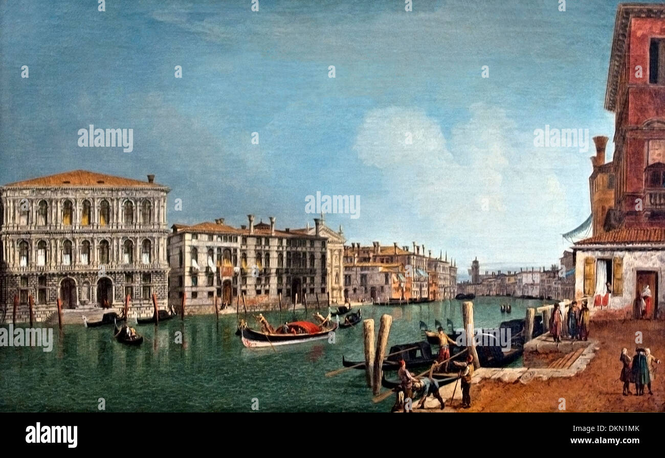Grand Canal at about the Pesaro Venice Michele Marieschi (1710–1743)  Italy Italian - Stock Image