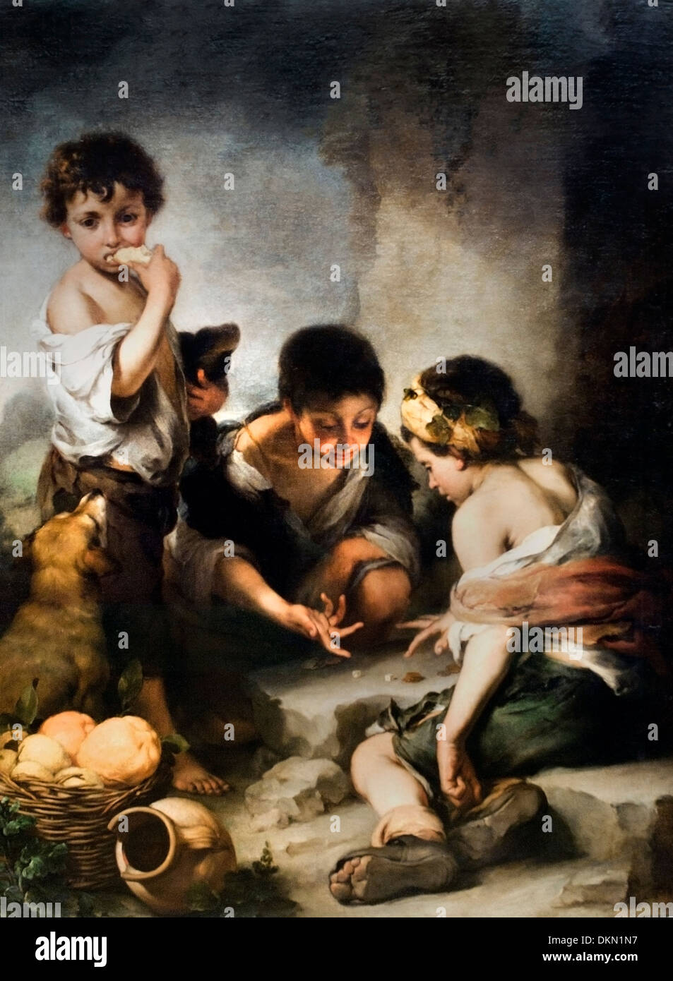 BEGGAR BOYS PLAYING DICE (CA. 1675) BARTOLOMÉ ESTEBAN MURILLO (1618-1682) Spain Spanish - Stock Image
