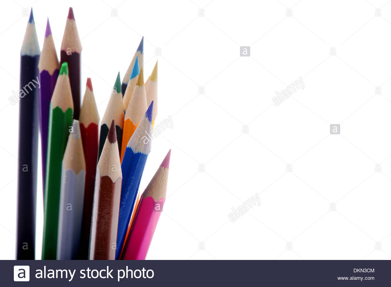 pen write draw colors color charcoal wood office art artistic drawing colorful paper sharp variety spectrum rainbow red blue - Stock Image