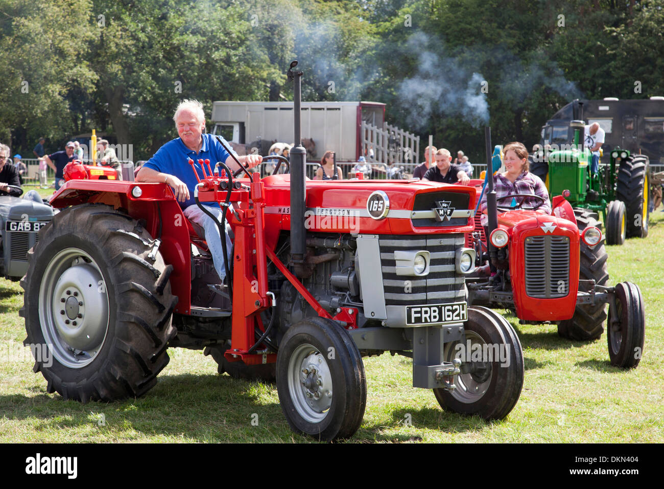 Massey Ferguson tractors at a vintage tractor show in the U.K. - Stock Image