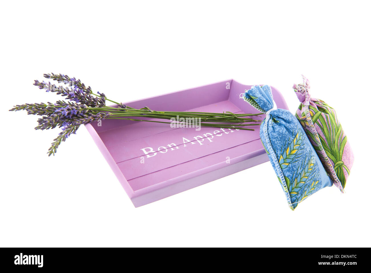 French lavender on pink tray - Stock Image