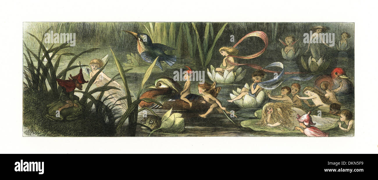 Water lilies and water fairies of the period. - Stock Image