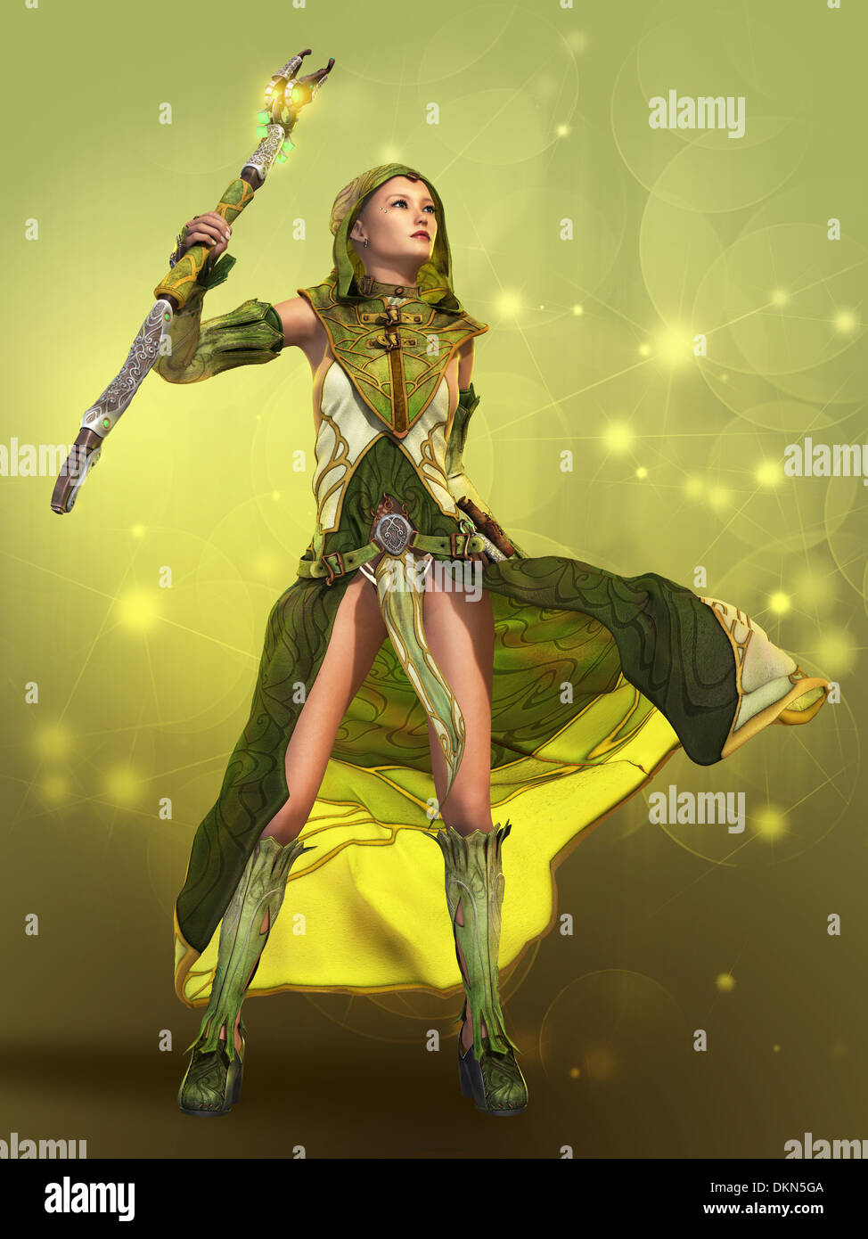 3D computer graphics of a young woman in a fantasy dress - Stock Image