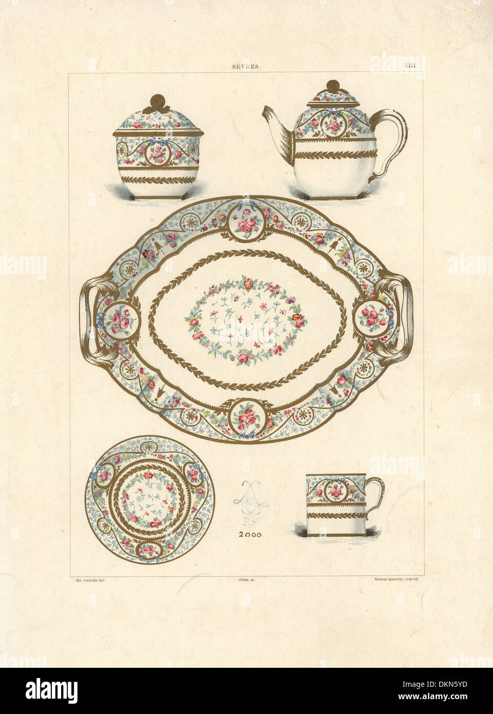 Sevres lunch service with simple decoration called Solitaire. - Stock Image