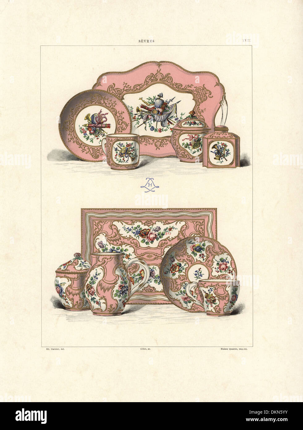 Sevres Solitaire tea service and coffee service. - Stock Image