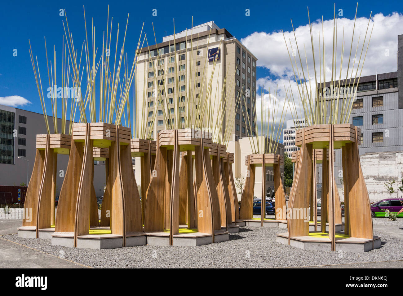 New installation in Christchurch New Zealand, Tree Houses for Swamp Dwellers, by Julia Morison. - Stock Image