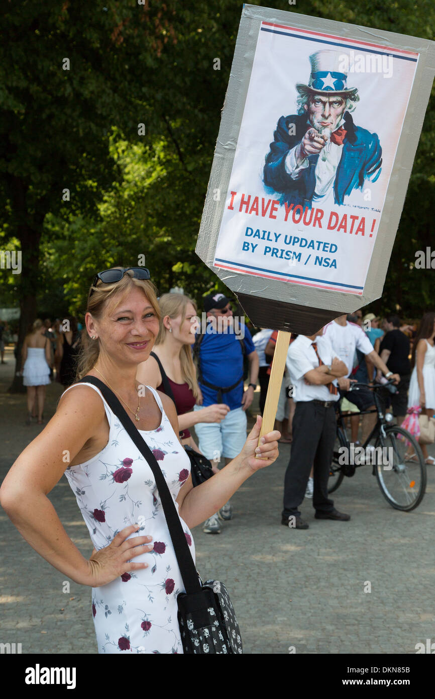German woman protesting United States NSA data spying program, in Berlin Germany. - Stock Image