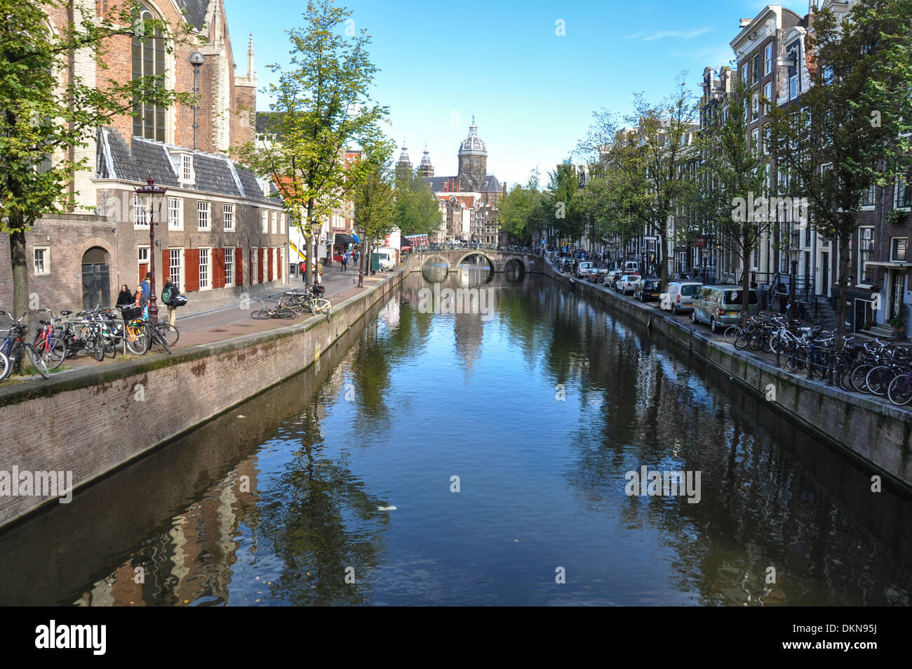 Amsterdam, Netherlands view of a canal Stock Photo