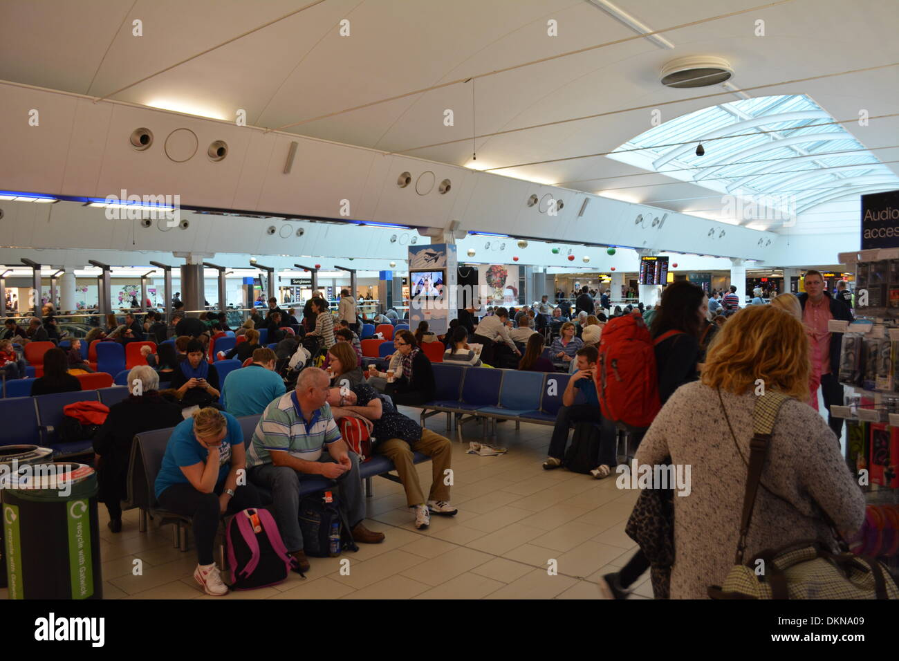 Gatwick, UK. 7th Dec 2013. Major delays took place at most airports around the UK yesterday due to a problem with air traffic control. This was taken at Gatwick airport where passengers were delayed for hours. Credit:  Greg Weddell/Alamy Live News - Stock Image