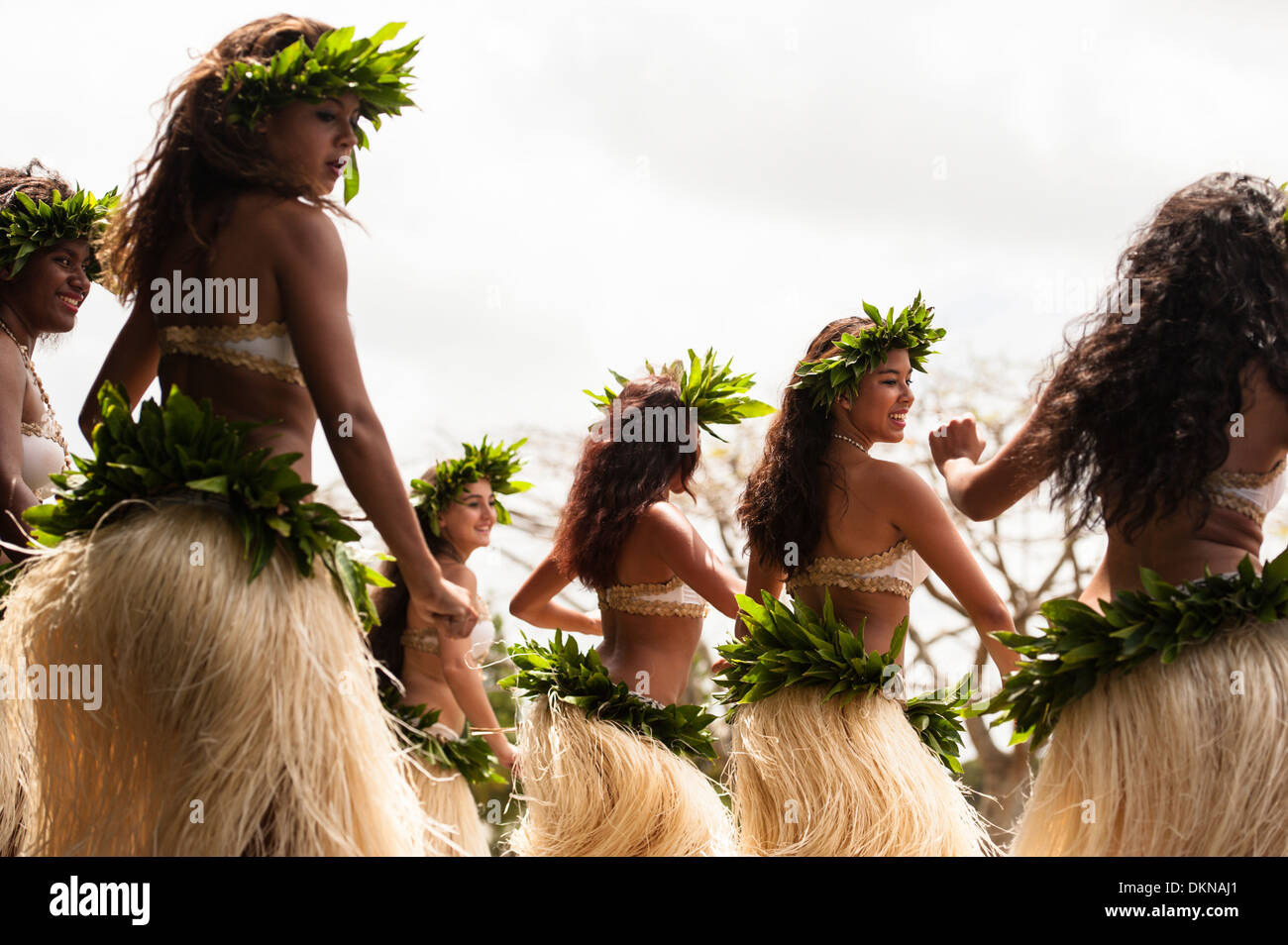 Vanuatan women of mixed race (Melanesian and Polynesian)  dancing a Polynesian dance during  Fest' Sawagoro cultural festival, Port Vila, Vanuatu. - Stock Image