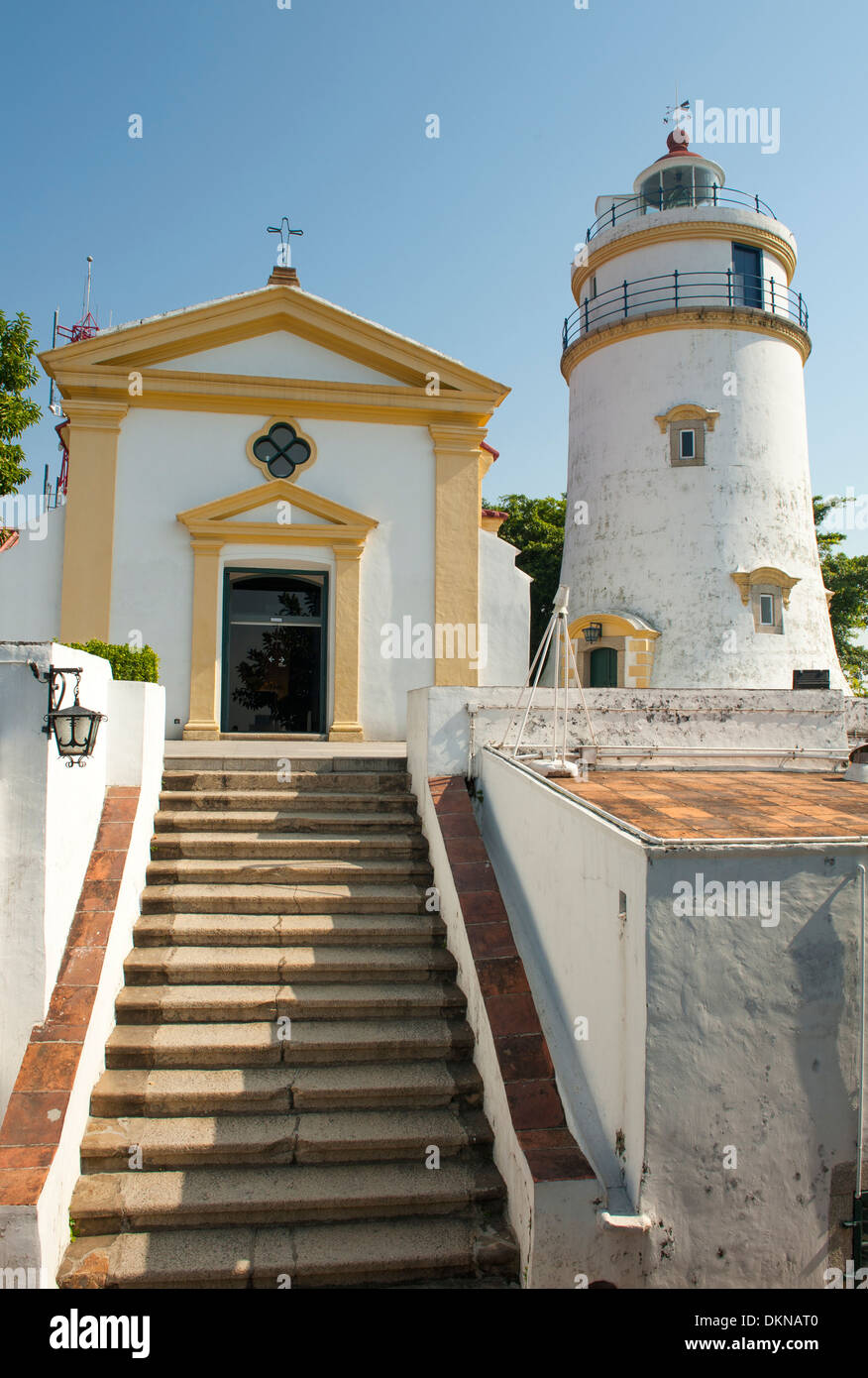 Guia Lighthouse, fort and church at Macau, a former Portuguese colony and today world heritage in China - Stock Image