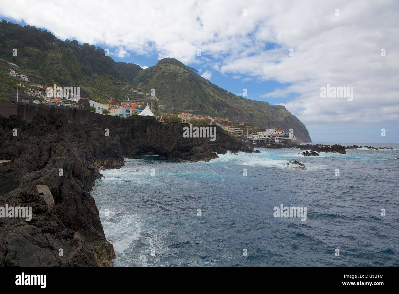 Rocks from volcanic tuff in the ocean Madeira, view of Porto Moniz - Stock Image