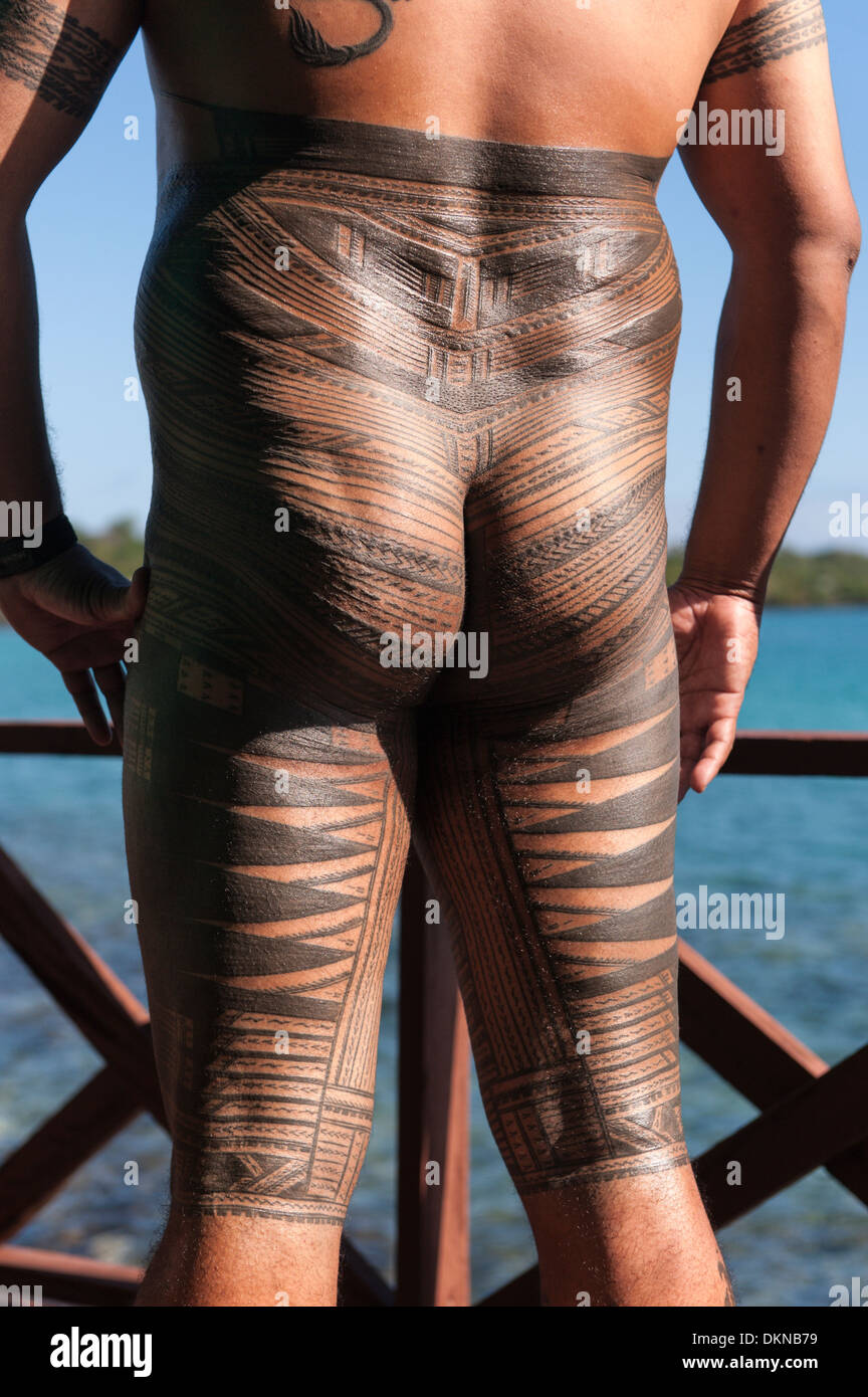 Portrait of a man with a pe'a, Samao's traditional male tattoo, Samoa. - Stock Image