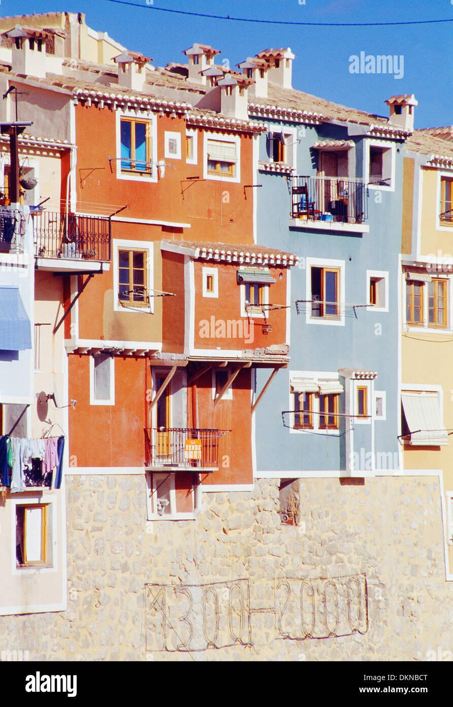 Color facades. Villajoyosa. Alicante province. Comunidad Valenciana. Spain. - Stock Image