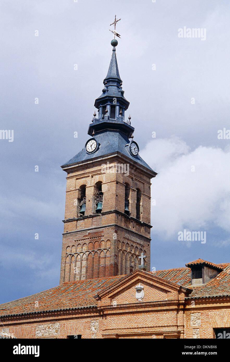 Mudejar tower of Nuestra Señora de la Asuncion church. Navalcarnero, Madrid province, Spain. - Stock Image