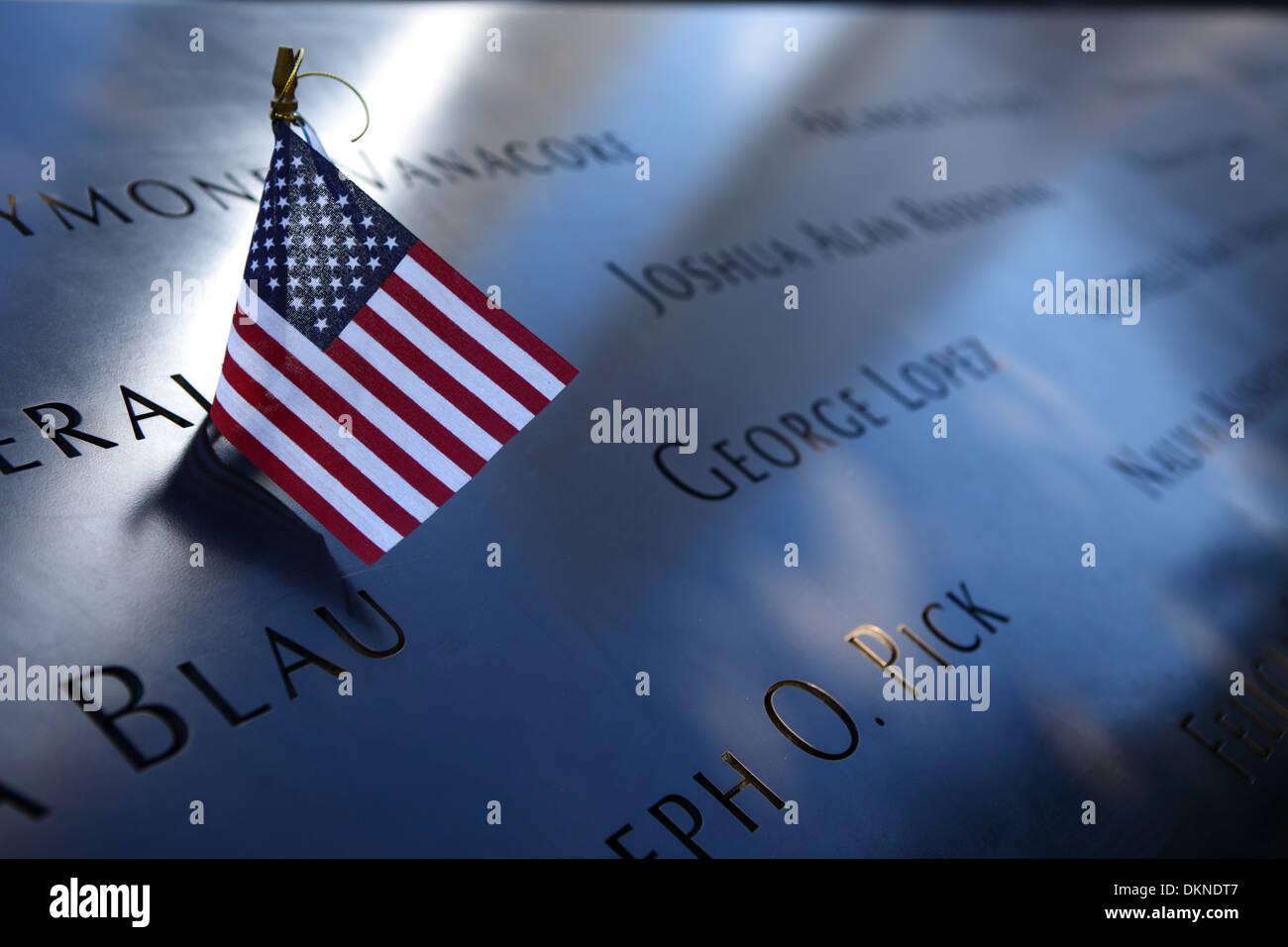Inscription at September 11 Memorial, New York City, USA - Stock Image
