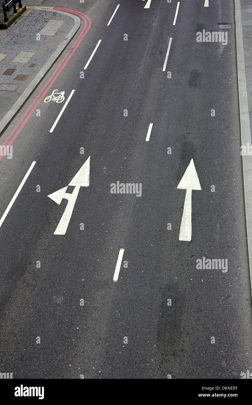 road in the city with the indication of the movement of transport - Stock Image