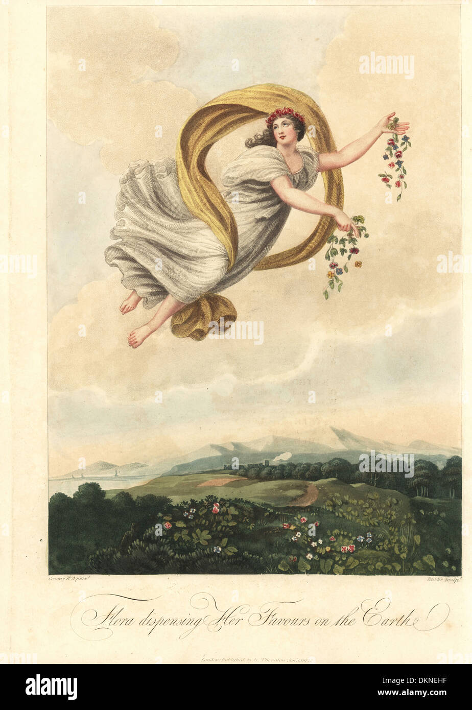 Allegorical illustration of Flora dispensing her Favours on the Earth. - Stock Image