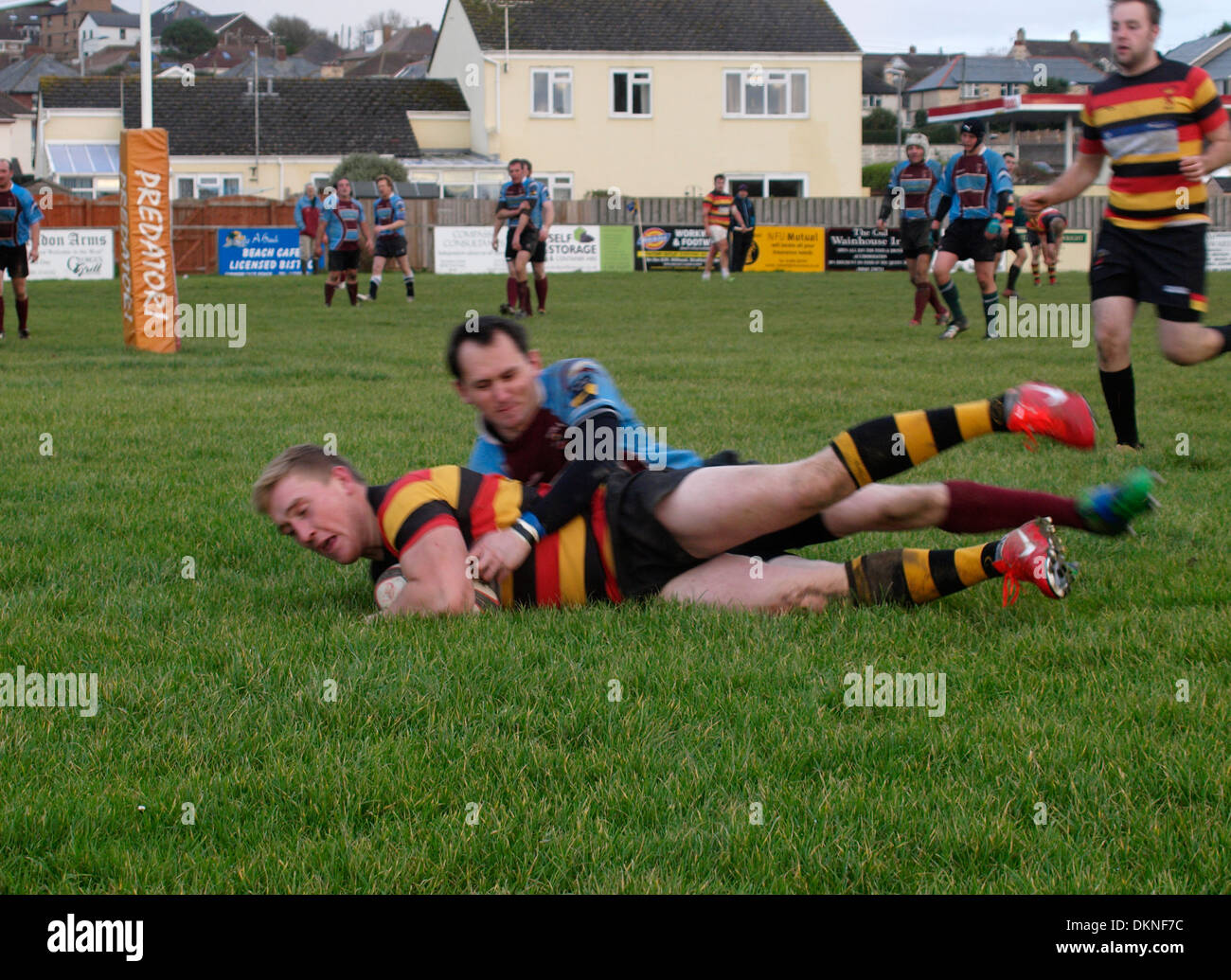 Scoring a try, Amateur rugby match, Bude, Cornwall, UK - Stock Image