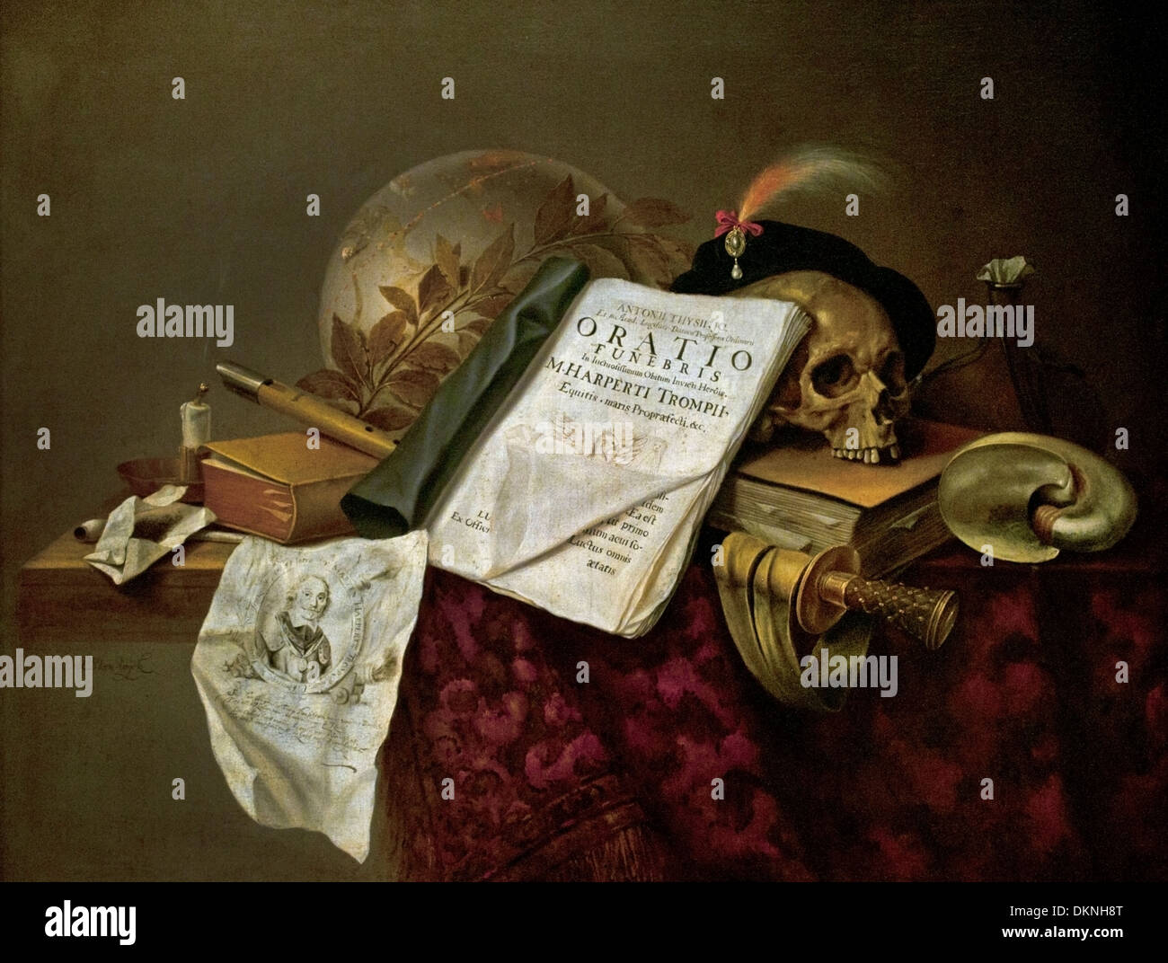 Pieter Steenwijck  1615 - 1656 Still Life (Allegory of the death of Admiral Tromp) Date: ca 1655 Dutch Netherlands - Stock Image