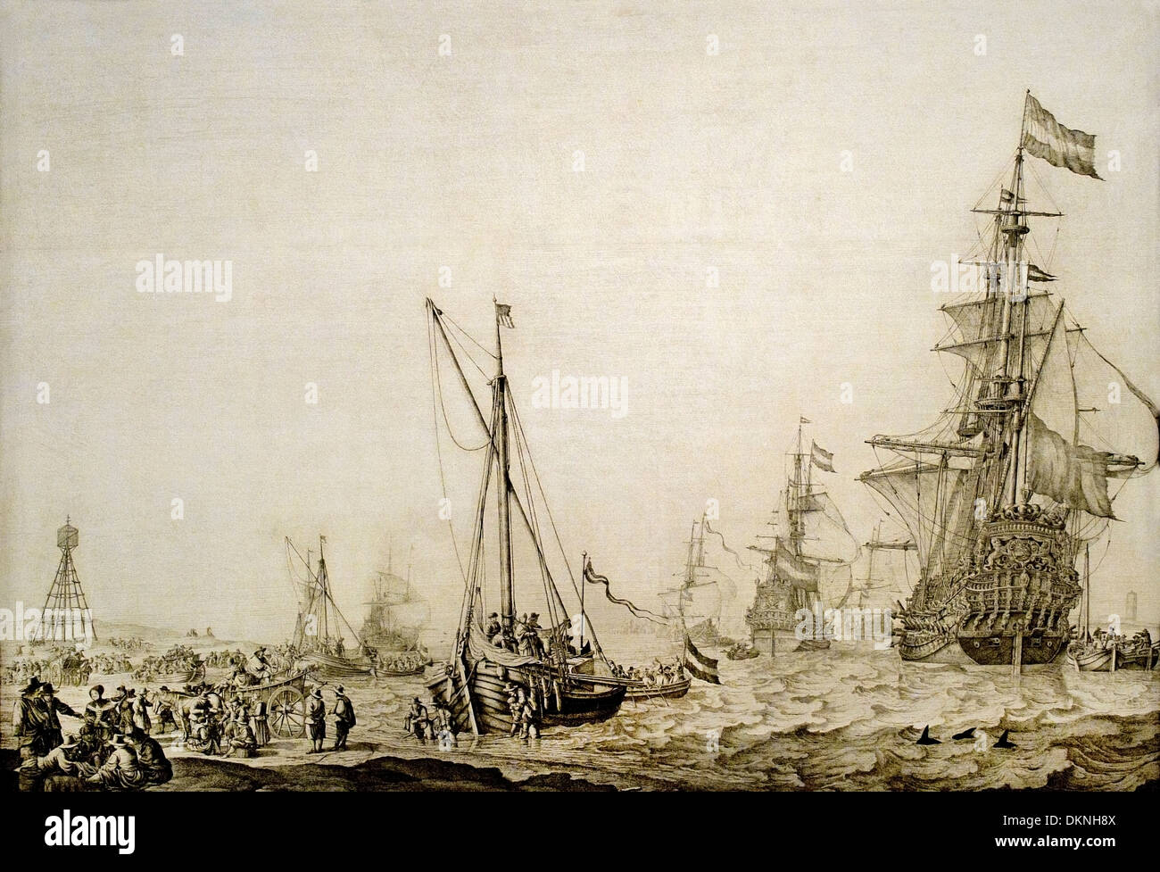 The Dutch fleet putting out to sea from the roadstead of Vlieland 1645  Dutch Netherlands - Stock Image