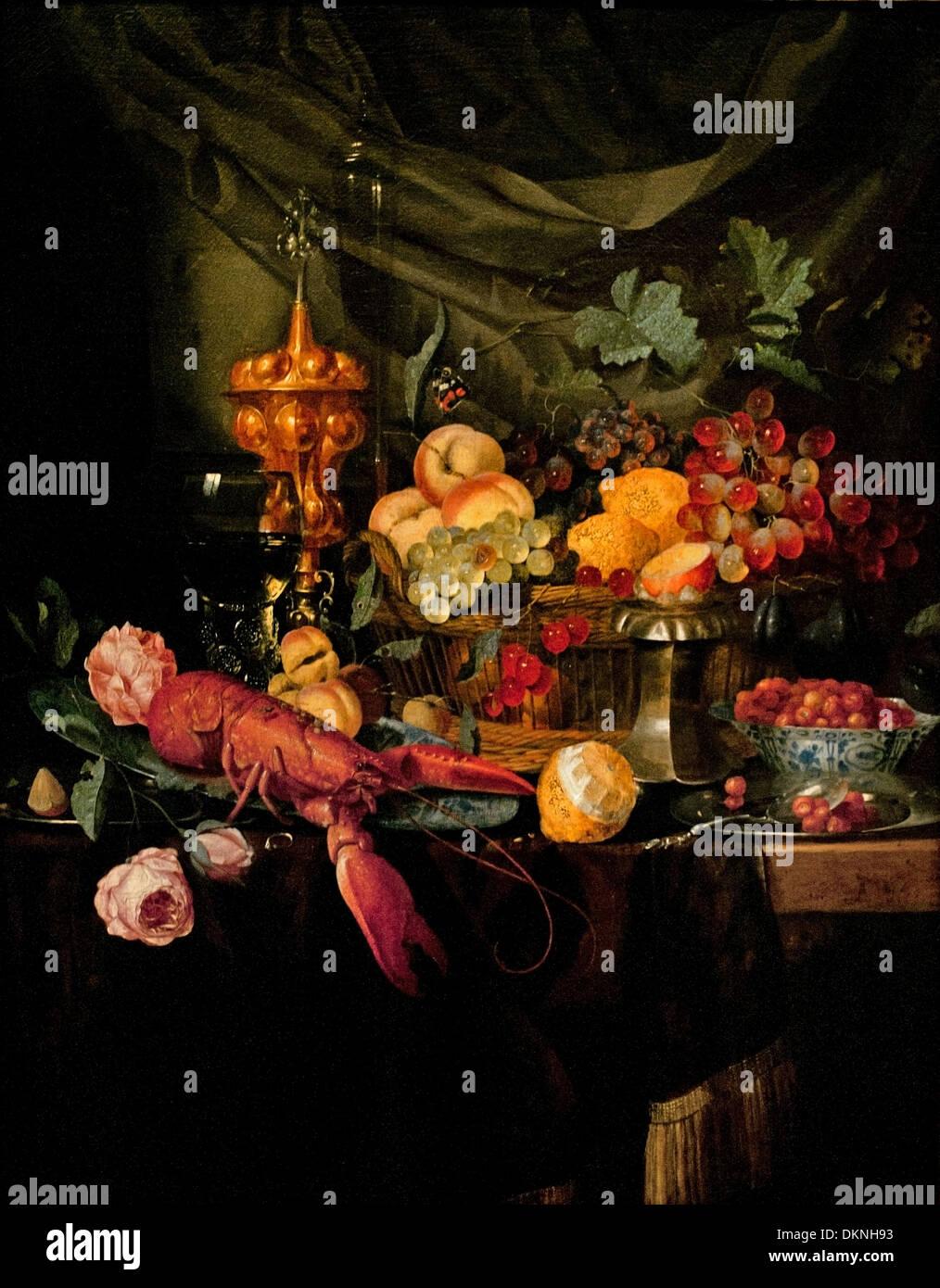 Luxurious still life 1656 Pieter de Ring 1615-1656  Dutch Netherlands - Stock Image