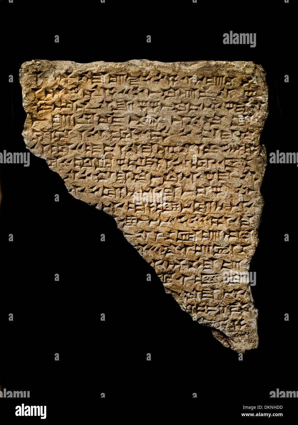 Building Inscription in cuneiform limestone  Iraq Nineveh 650  BC - Stock Image