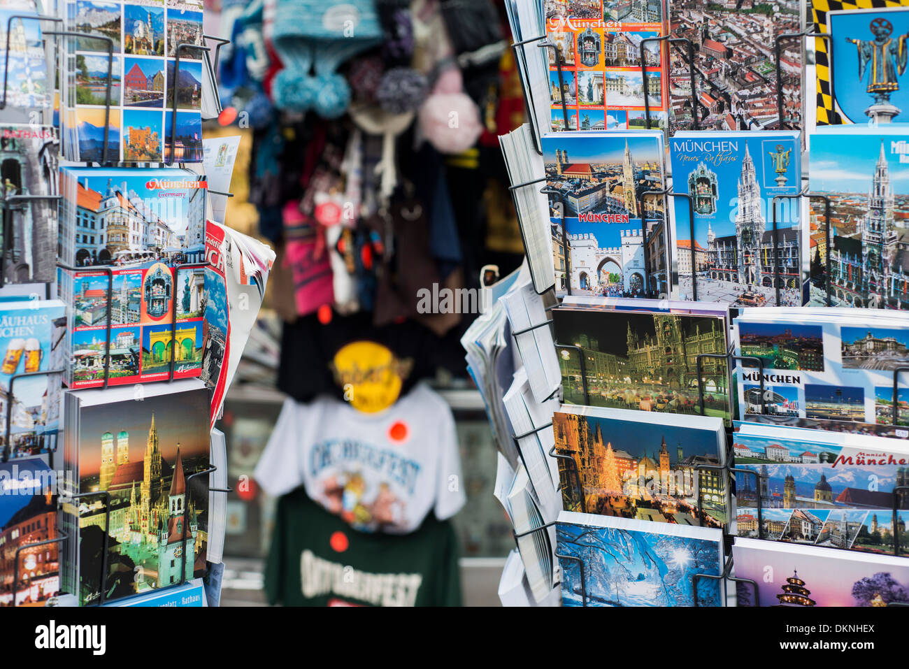 Postcards and souvenirs outside a shop in Munich, Germany - Stock Image
